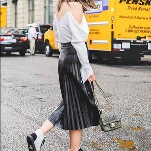 Dresses & Skirts - Leather pleated skirt